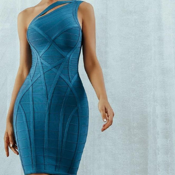 One Shoulder Asymmetrical Hollow Out Bodycon Bandage Blue Dress