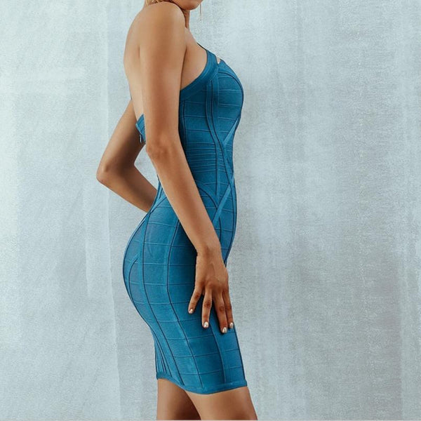 One Shoulder Asymmetrical Hollow Out Bodycon Bandage Blue Dress - Side View