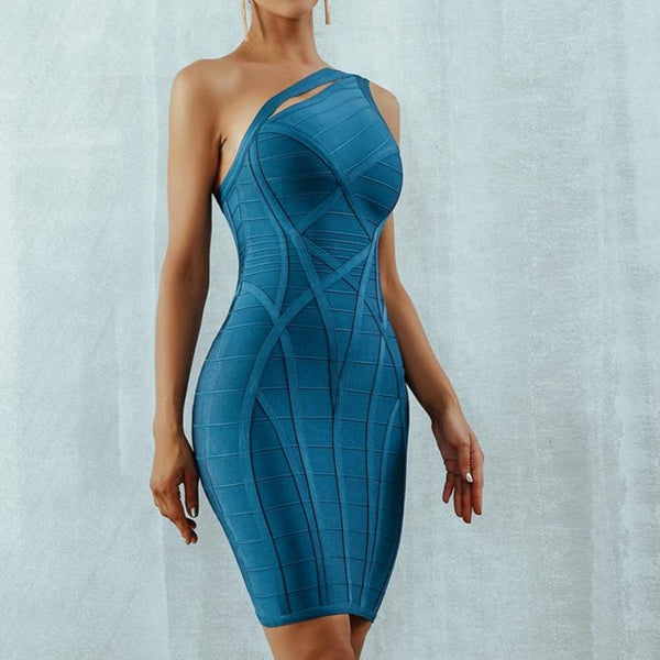 One Shoulder Asymmetrical Hollow Out Bodycon Bandage Blue Dress at Fashions Queen
