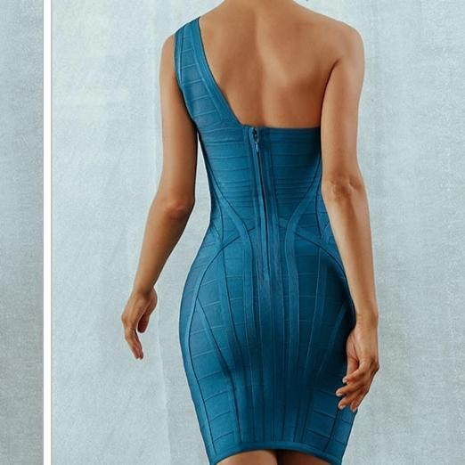 One Shoulder Asymmetrical Hollow Out Bodycon Bandage Blue Dress - Back View