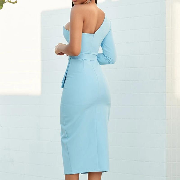 One Shoulder Strapless Sashes Midi Dress-Sky Blue at Fashions Queen