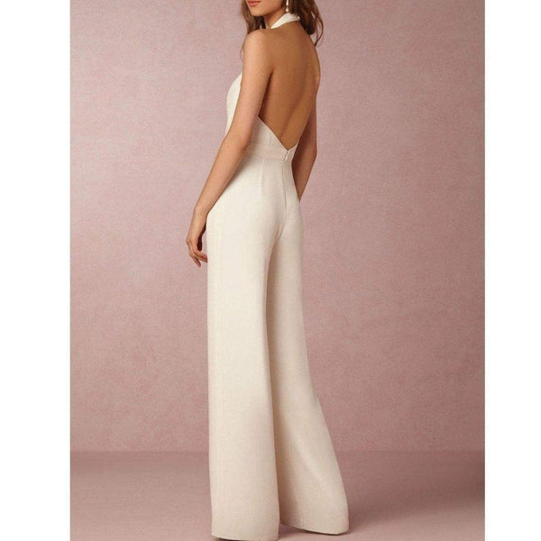 Sadie White Loose Slim Long Jumpsuits at Fashions Queen