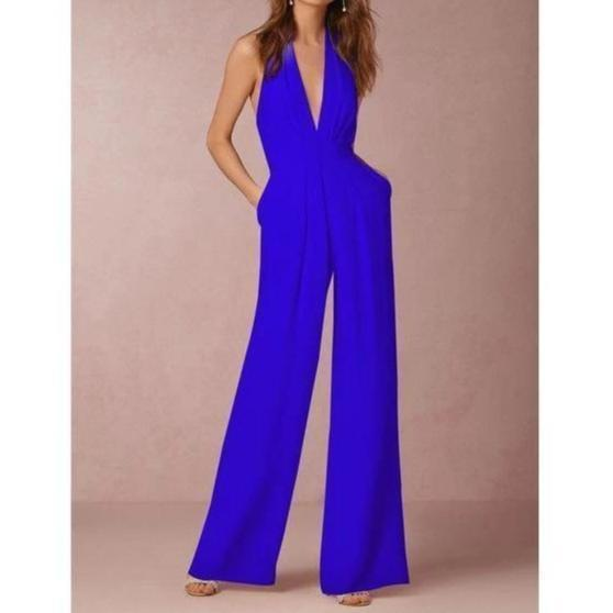 Sadie White Loose Slim Long Jumpsuits Blue / S at Fashions Queen