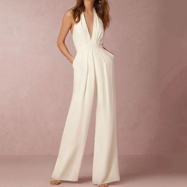 Sadie White Loose Slim Long Jumpsuits White / S at Fashions Queen