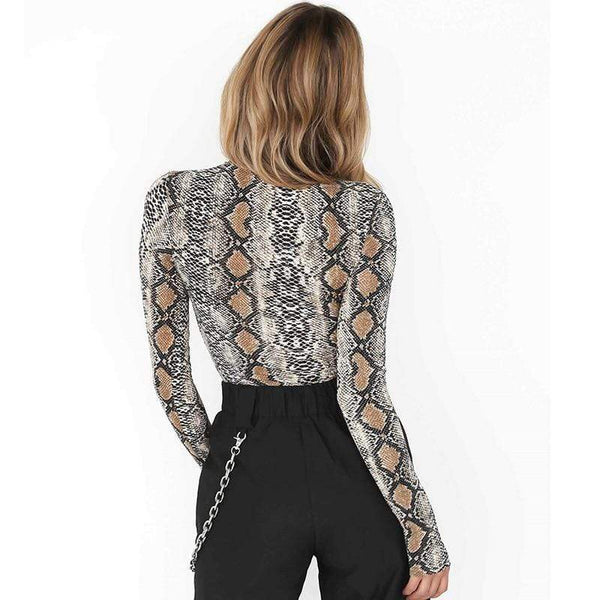 Serpiente Long Sleeve Python Fashion Turtleneck Snakeskin Playsuit Bodysuit at Fashions Queen