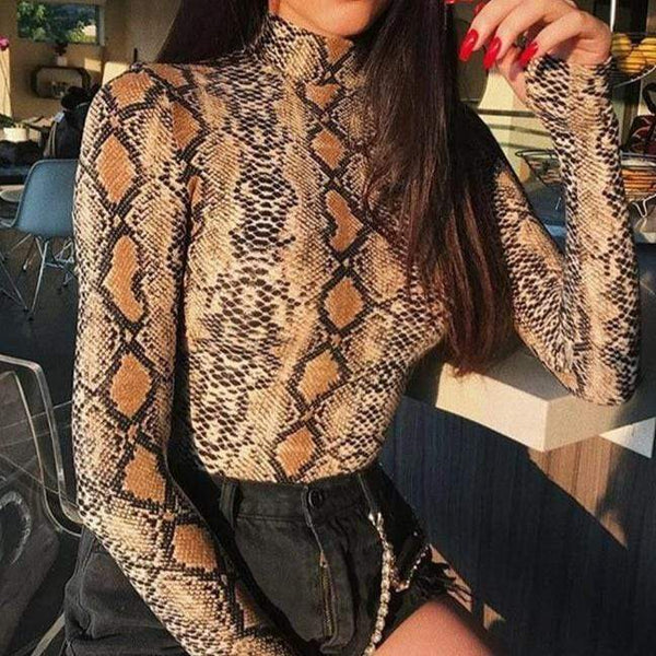 Serpiente Long Sleeve Python Fashion Turtleneck Snakeskin Playsuit Bodysuit Brown Snake Skin / L at Fashions Queen