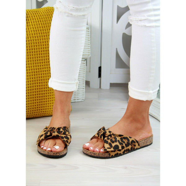 Skylar Tiger Bow-Knot Leopard Slip On Sandals at Fashions Queen