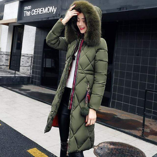 Sonia Thick Parka Down Jacket Long Winter Coat Army Green / Xxxl at Fashions Queen
