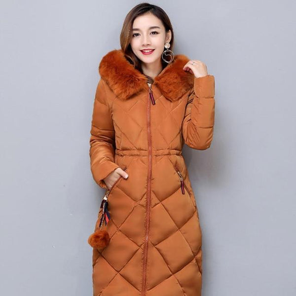 Sonia Thick Parka Down Jacket Long Winter Coat Camel / L at Fashions Queen