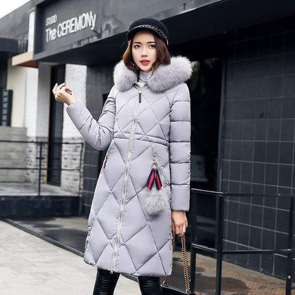 Sonia Thick Parka Down Jacket Long Winter Coat Gray / L at Fashions Queen