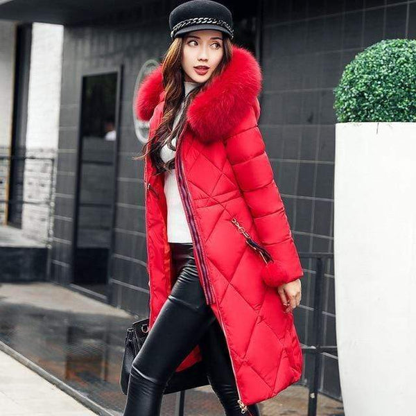 Sonia Thick Parka Down Jacket Long Winter Coat Red / L at Fashions Queen