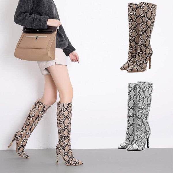 Suzanne High Snakeskin Riding Zip Boots at Fashions Queen