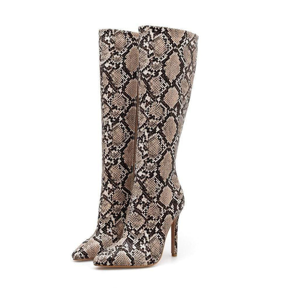 Suzanne High Snakeskin Riding Zip Boots Beige / 5 at Fashions Queen