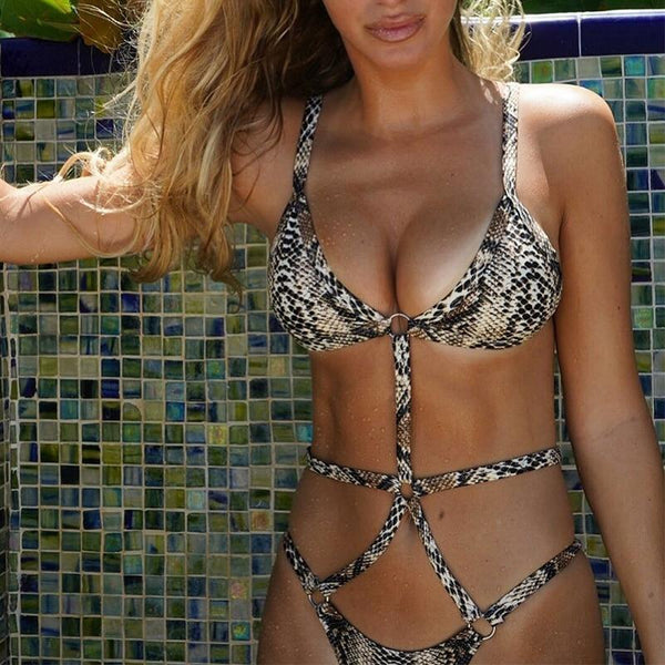 Sylvia Bandage Snake Print Bikini at Fashions Queen
