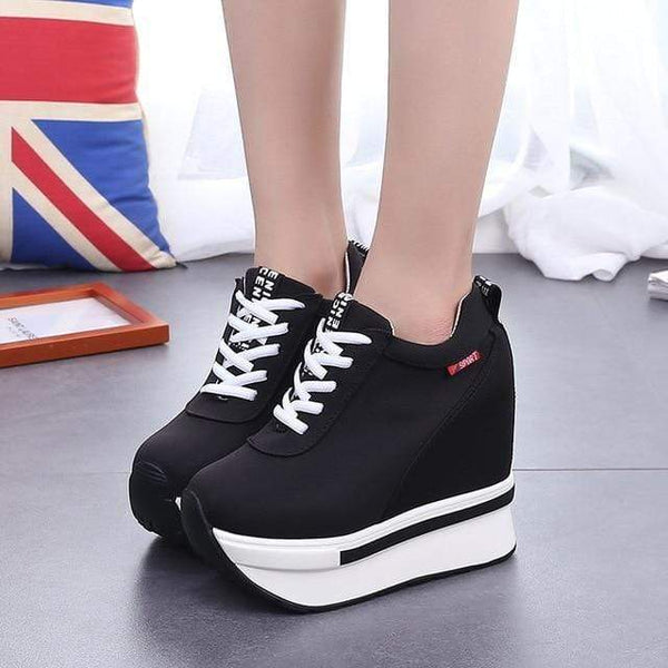 Tiptoe Height Increasing Canvas Wedges Platform Heel Sneaker Shoes Black / 4 at Fashions Queen