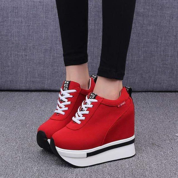 Tiptoe Height Increasing Canvas Wedges Platform Heel Sneaker Shoes Red / 4 at Fashions Queen