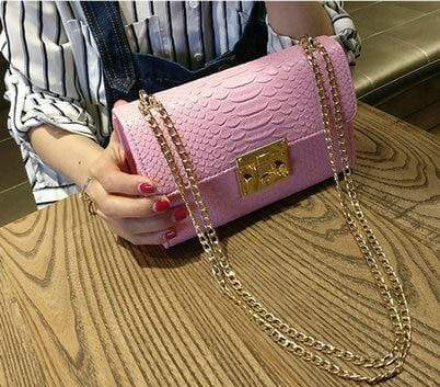 Tracy Crocodile Flap Handbags Large Pink / M at Fashions Queen