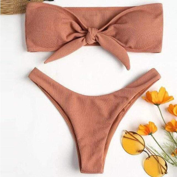 Vivo Knot Bikini Set Peach / S / China at Fashions Queen