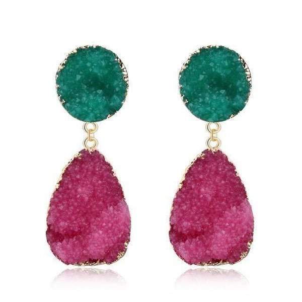 Zoe Green Red Resin Earrings Pink & Green