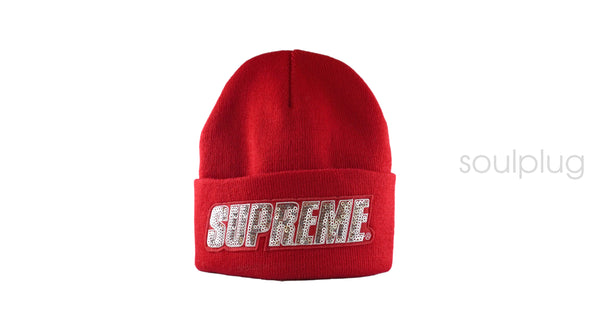 SUPREME SEQUIN BEANIE 'RED'