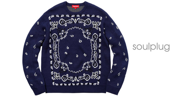 Supreme Bandana Sweater Navy
