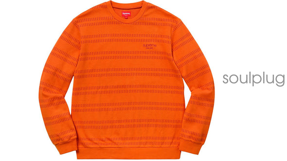 Supreme Dash Stripe Crewneck Orange