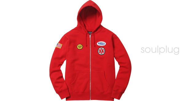 Supreme Hysteric Glamour Patches Zip Up Sweatshirt 'Red'
