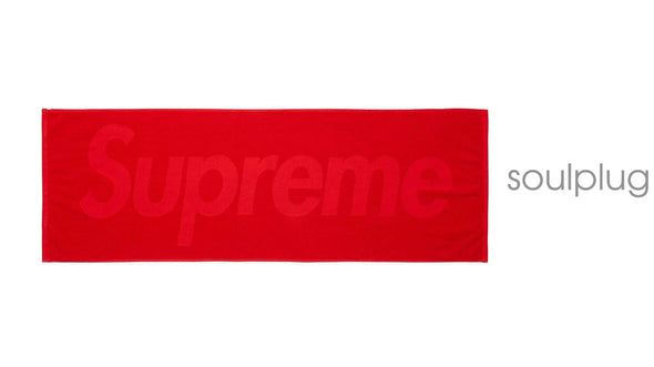 SUPREME TERRY LOGO HAND TOWEL RED