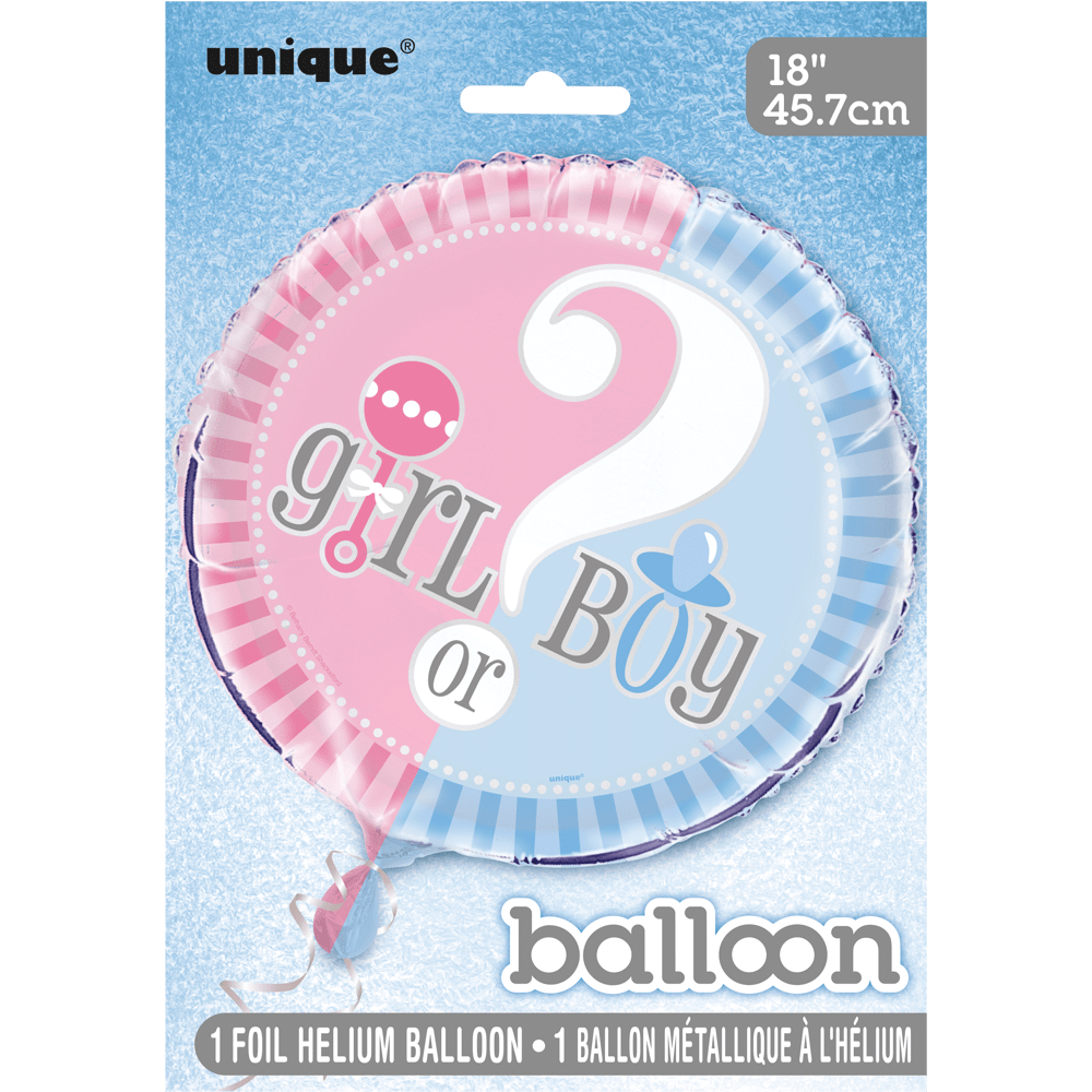 "festorama Folie ballon - baby shower - girl or boy? - 18""/45 cm på festorama"