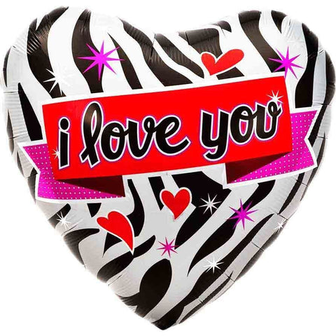 Folie ballon - zebra hjerte - I love you