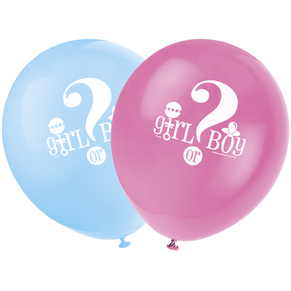 "Lyseblå og lyserød latexballon med texten ""girl or boy"""