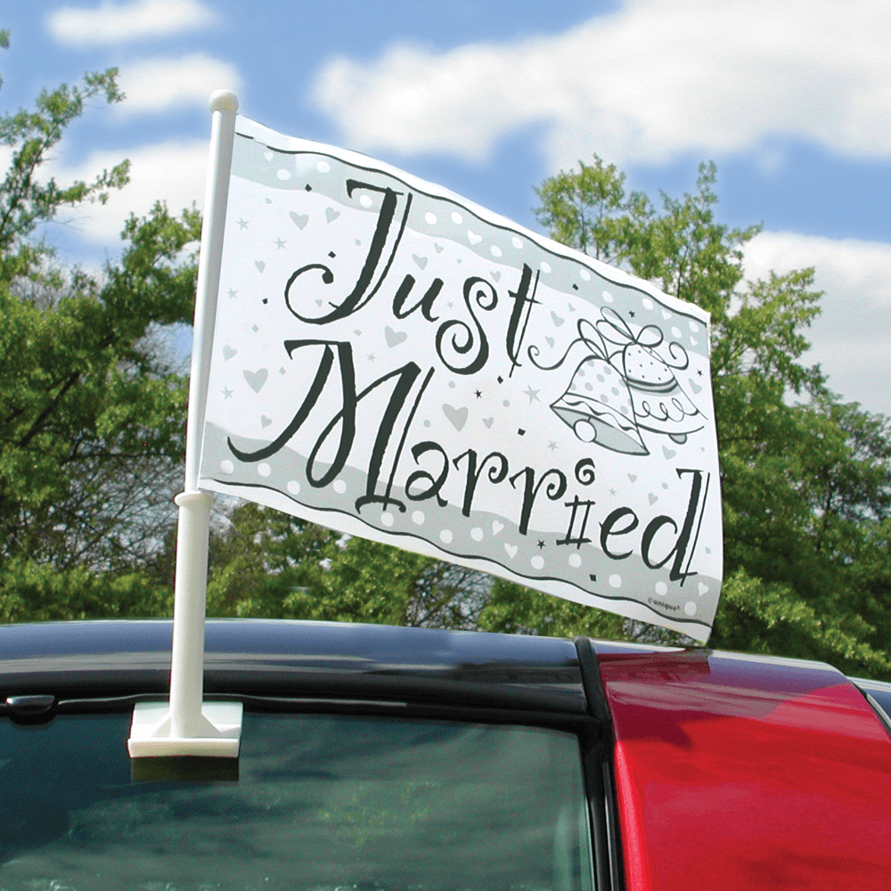 "Bilflag - ""Just married"" - 50 x 40 cm"