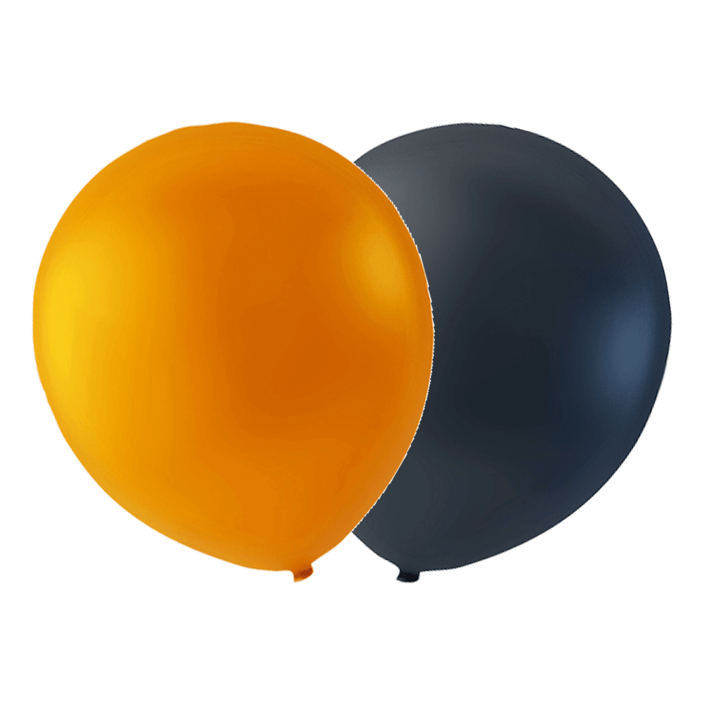 Orange og sort latexballon