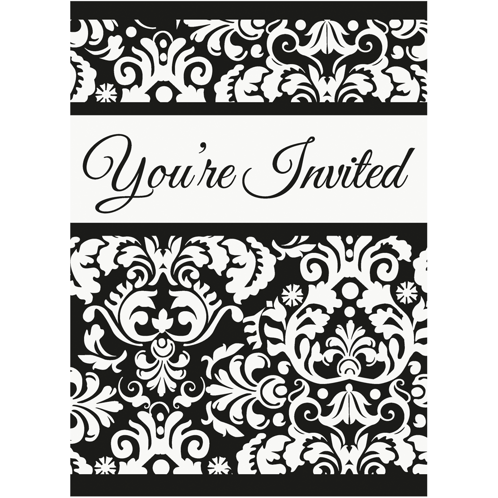 Invitationer - Sort damask - 8 styk