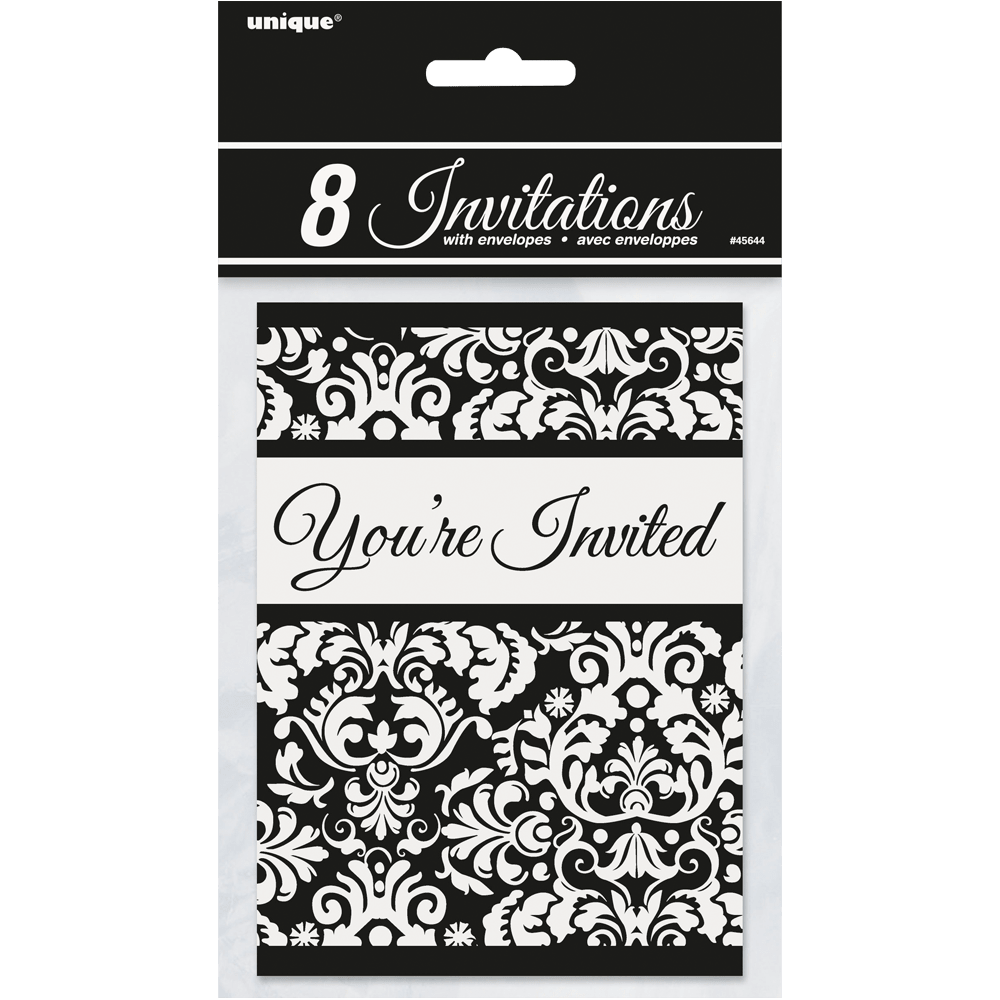 Sort damask invitationer med kuverter
