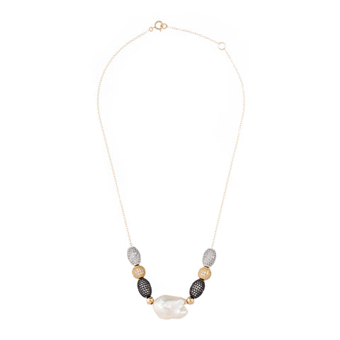 Pearl and Zirconia Ball Necklace