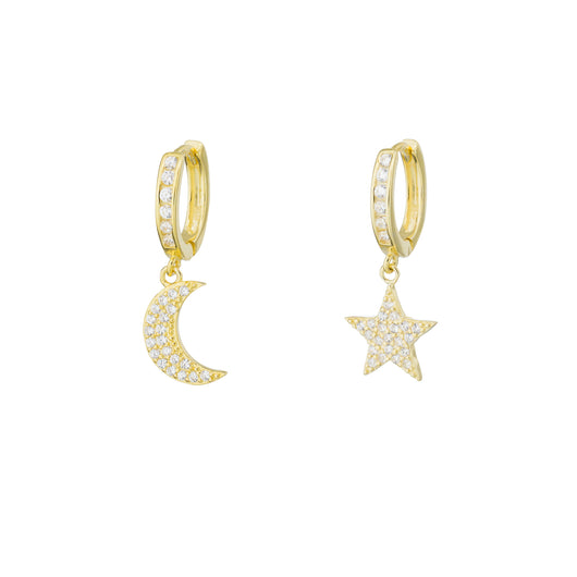 Star and Moon Huggy Earring