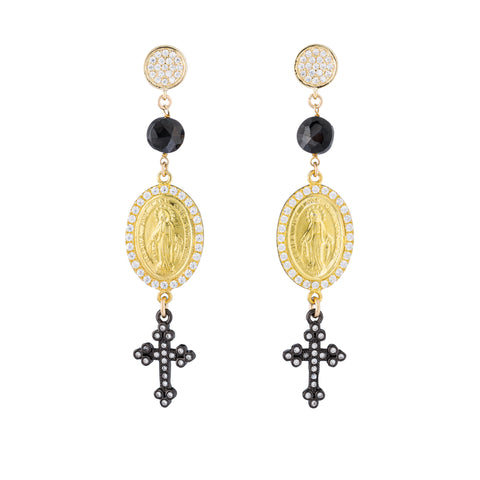 Gold and Black Cross Earrings