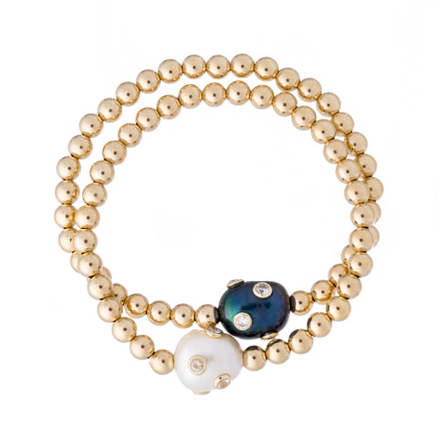 Pearl and Zirconia Encrusted Bracelet