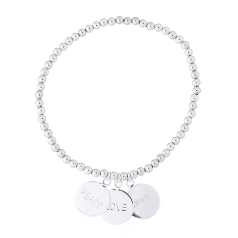Love-Peace-Hope Charm Bracelet
