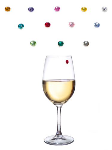 Bliss Home Elegant Multicolor Swarovski Crystal Magnetic Wine Charms - Drink Markers for Wine, Champagne, Beer and Cocktail Glasses (Set of 12) - Box Included for Storage or Gifting