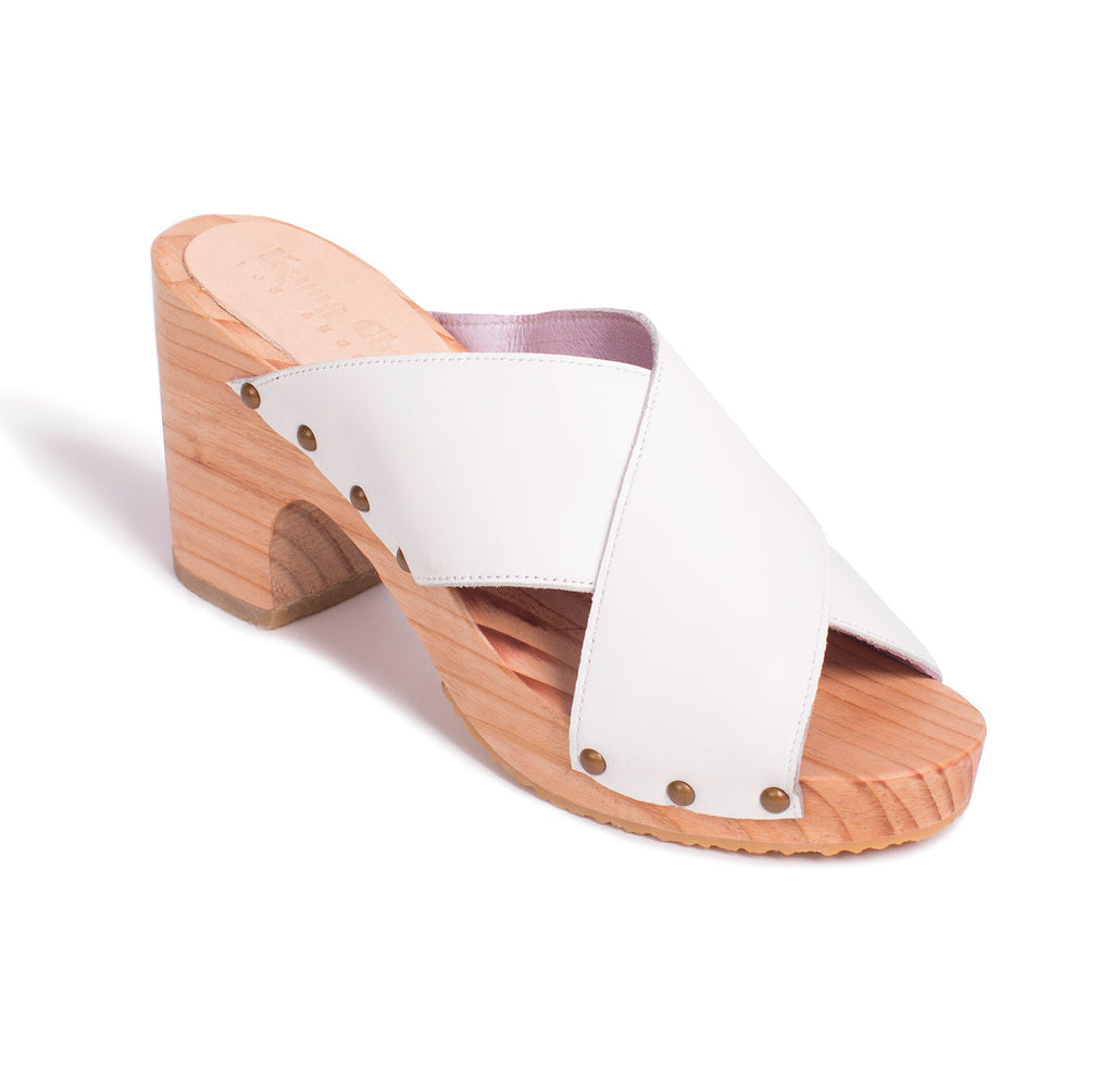 Custom Luxury Hand Carved Wooden Clog Shoe Handmade in Los Angeles with a Leather Upper