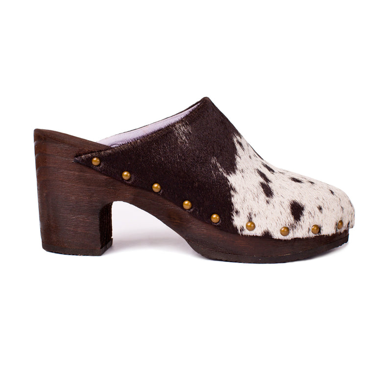 Custom Luxury Clog Shoe Handmade in Los Angeles, USA with a Ponyhair Leather Upper