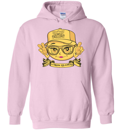 VIRGIN ISLANDS SMILING EMOJI QUEENS HOODIE GOLD