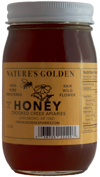 22 oz. of Nature's Golden Honey in a Glass Pint Jar