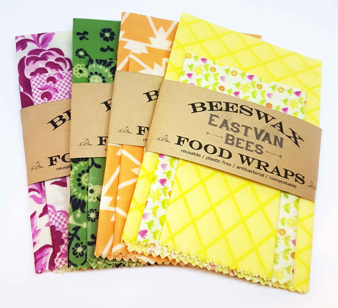 Beeswax Food Wraps -  Assorted 3 pack - Free Shipping
