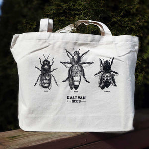 Vintage Bees Thick Canvas Tote Bag 100% Woven Cotton Muslin