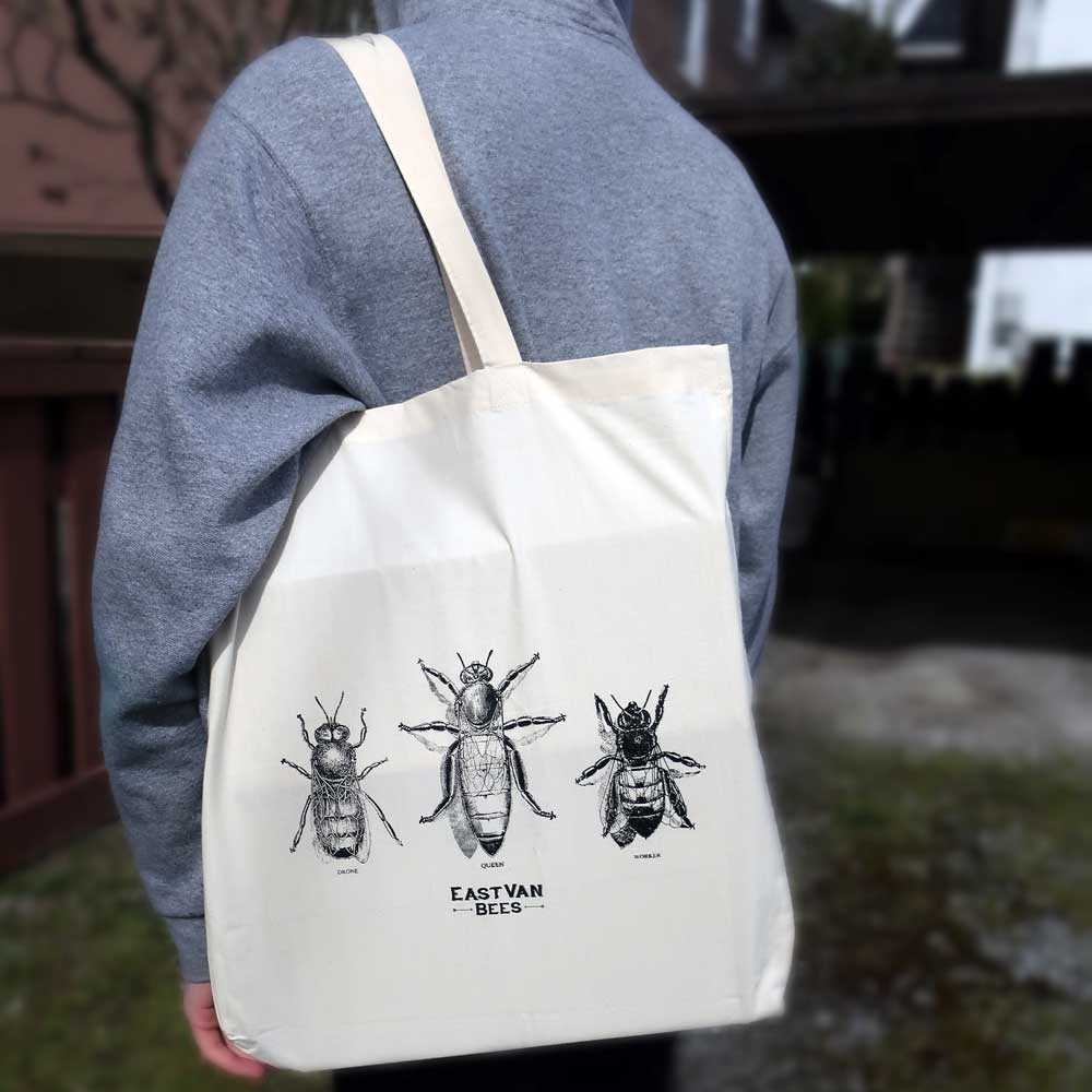 Vintage Bees Canvas Tote Bag 100% Cotton Muslin w/long handles
