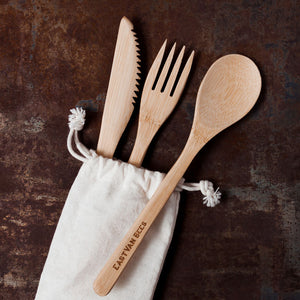 Bamboo Cutlery - Zero Waste set - With Travel Pouch - Food Safe - Reusable