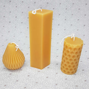 "Beeswax candle- Fluted Pyramid - 4.25"" - 100% Pure Canadian Beeswax"